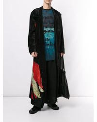 メンズ Yohji Yamamoto ドローストリング ワイドパンツ Black