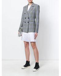 MSGM - Gray Tartan Double Breasted Jacket - Lyst