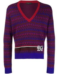 メンズ Prada インターシャ セーター Purple