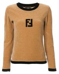 Fendi Pre-Owned Brown Velvet Effect Longsleeved Top