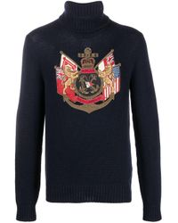 メンズ Ralph Lauren Purple Label Coat Of Arms カシミア セーター Blue