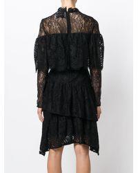 Perseverance London Black Paisley Ruffled Dress