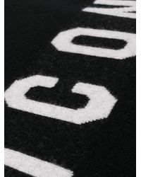 DSquared² Black Icon Print Scarf for men