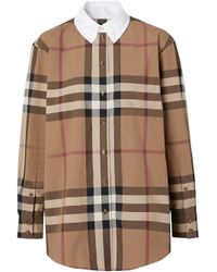 Поплиновая Рубашка Оверсайз В Клетку Burberry, цвет: Multicolor