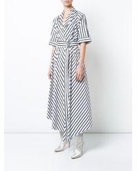 Adam Lippes - White Asymmetric Stripe Dress - Lyst