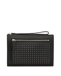 Giuseppe Zanotti Black Zipped Stud-embellished Clutch Bag for men