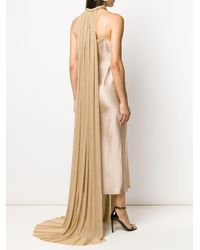 Elie Saab プリーツ ケープ ドレス Natural