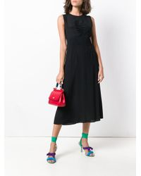 N°21 - Black Gathered Front Midi Dress - Lyst
