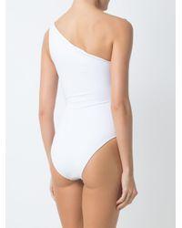 Brigitte Bardot White One Shoulder Swimsuit