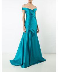 Monique Lhuillier Blue Off Shoulder Gown