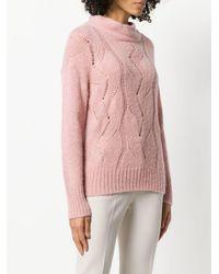 Peserico Pink Braid Knit Sweater