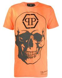 T-shirt con stampa di Philipp Plein in Orange da Uomo