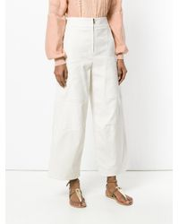 Chloé - White High-waisted Wide Leg Trousers - Lyst