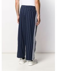Adidas Blue Pinstriped Loose Fit Trousers for men