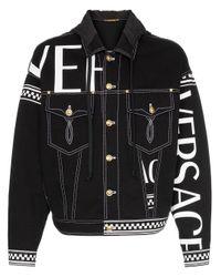 Versace Jeansjacke mit Karo-Details in Black für Herren
