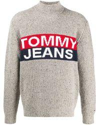 メンズ Tommy Hilfiger ロゴ タートルネック プルオーバー Gray