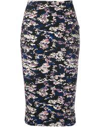 Victoria Beckham Blue Camouflage Jacquard Pencil Skirt