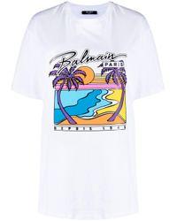 Camiseta con estampado gráfico Balmain de color Multicolor