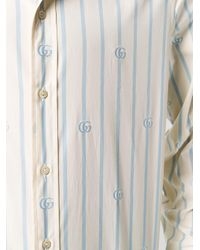 メンズ Gucci ストライプ ロゴ シャツ White