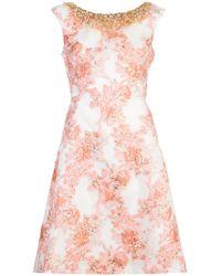 Aidan Mattox - Pink Embellished Floral Print Dress - Lyst