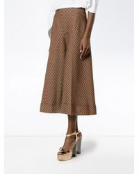 Delpozo - Blue Checked Wide Leg Trousers - Lyst