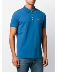 メンズ DIESEL ロゴエンブロイダリー ポロシャツ Blue