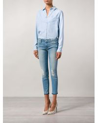Mother Blue 'looker' Cropped Jeans