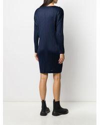 Vestito plissettato bicolore di Pleats Please Issey Miyake in Blue