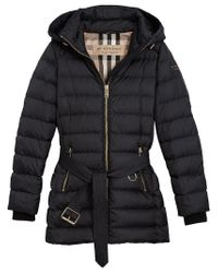 Burberry - Blue Hooded Puffer Jacket - Lyst