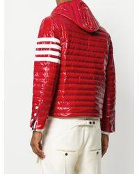 メンズ Thom Browne 4barストライプ キルトダウン フードジャケット サテンフィニッシュ Red