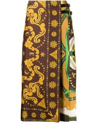 Versace Brown Scarf-style Print Midi Skirt
