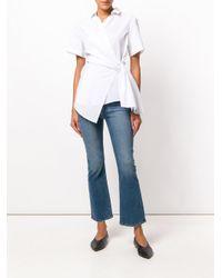 Fabiana Filippi White Pinstripe Wrap Shirt