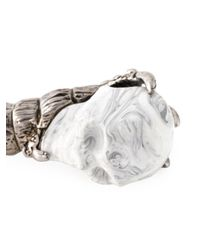 Alexander McQueen - Black Twin Skull Talon Bracelet for Men - Lyst