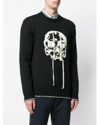 Alexander McQueen Black Skull Intarsia Jumper for men