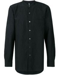 Camicia con collo alla coreana di Attachment in Black da Uomo
