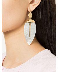 Aurelie Bidermann White Leaf Earrings