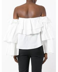Erika Cavallini Semi Couture White Off-shoulder Ruffled Blouse