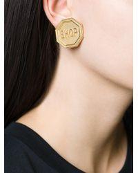 Moschino Metallic Shop Clip On Earrings