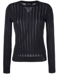 A.P.C. | Black 'annabelle' Pointelle-knit Sweater | Lyst