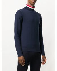 Sun 68 Blue Striped Turtleneck Sweater for men