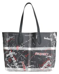 Burberry - Black Large Reversible Doodle Tote - Lyst