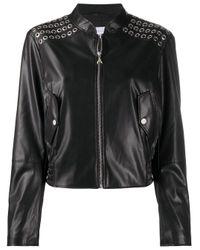 Patrizia Pepe Black Zip-up Faux-leather Jacket