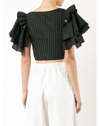 TOME Black Cropped Frill-sleeve Blouse