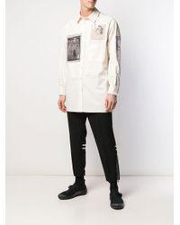 メンズ Yohji Yamamoto パッチ ロングシャツ Multicolor