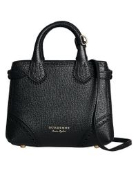 Burberry - Black Baby Banner In Brogue Detail Leather - Lyst