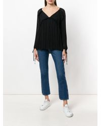 P.A.R.O.S.H. Black Pleated V-neck Blouse