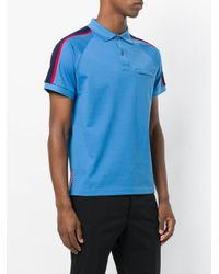 Prada - Blue Shoulder Stripe Polo Shirt for Men - Lyst