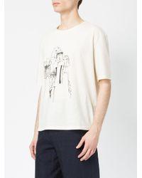 Miaoran White Sketch Print T-shirt for men