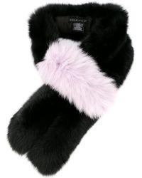 Écharpe bicolore en fourrure de renard Charlotte Simone en coloris Black