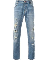 Philipp Plein Blue Distressed Slim Jeans for men